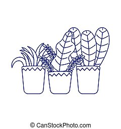 potted plants decoration gardening isolated icon white background line style