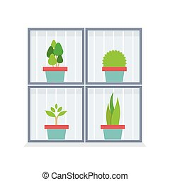 Potted Plants In The Box. - Flat Design Potted Plants In The...