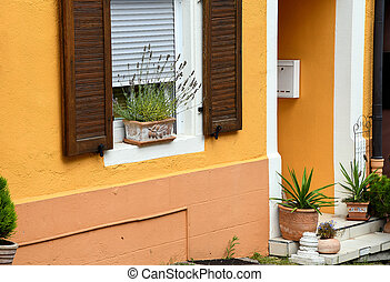 potted plants on window sill - potted plants on house window...