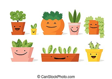 Potted plants set vector illustration. Set of plants with ...