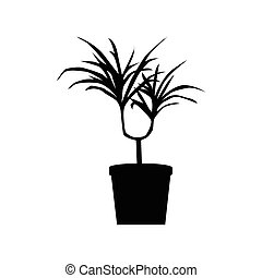 Potted plants silhouette isolated on white background