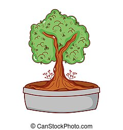 potted tree bonsai japanese decoration isolated icon vector ...