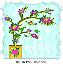 Potted Tree with Heart - Here is a pretty Tree with colorful...