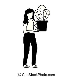 potted, vrouw, plant, vasthouden