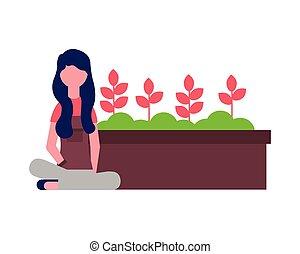 potted, vrouw, tuinbloem, tuinman