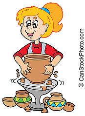 pottemagerværksted, pige, cartoon