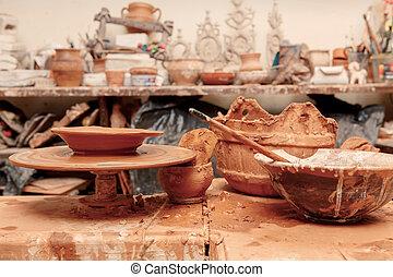 pottemagerværksted, tabel, redskaberne