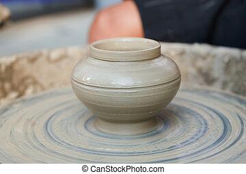 pottenbakker, op, de, pottenbakkers wiel