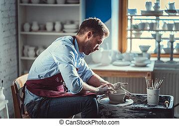pottenbakker, werkende