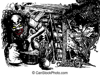 Potter, Creator, Clown - Vector freehand illustration - An...