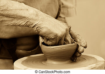 potter making pottery