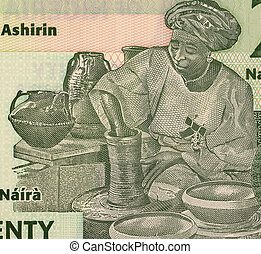 Potter on 20 Naira 2009 Banknote from Nigeria.