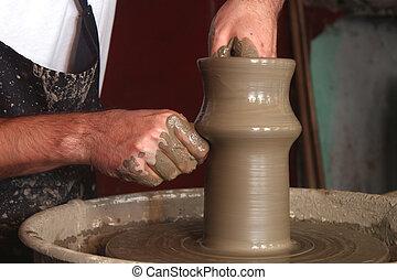 potter's, elaboración, manos, cerámico, florero