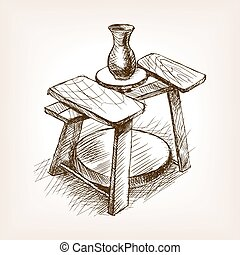 Potters wheel sketch style vector illustration. Old engraving imitation. Pottery wheel hand drawn sketch imitation
