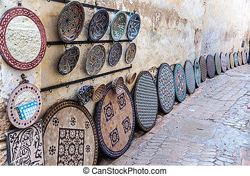 Pottery and souvenirs market in the medina of Fez, Morocco, Africa