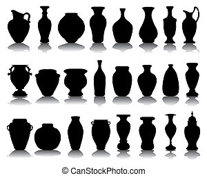Black silhouettes of the jars and vases, vector