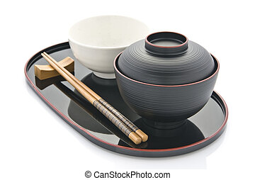 Pottery bowl and wooden chopstick on try japanese table setting.  sc 1 st  Can Stock Photo & Japanese table setting. Table setting at japanese restaurant stock ...