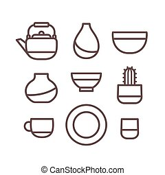 Ceramic dishes set, cups, pots and bowls. Pottery line icons, isolated vector illustration.
