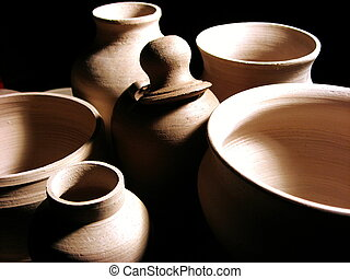 Pottery Closeup - picture of a collection of several pots ...