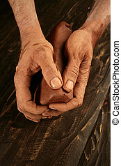 pottery craftmanship potter hands work clay - pottery...