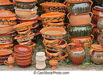 Arts and crarts pottery on traditional market