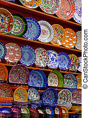 Bunch of colorful pottery handicrafts in the shop