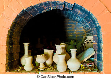pottery in a kiln in the pottery workshop