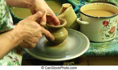 Pottery making process. Process of making a pottery