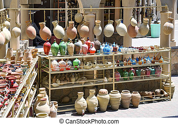 Pottery on the market of Nizwa, Oman