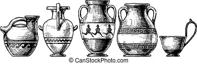 Pottery of ancient Greece. - Vector hand drawn sketch of ...