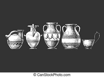 Pottery of ancient Greece - Vector hand drawn sketch of ...