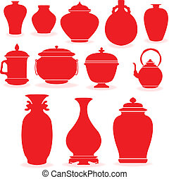 Pottery in red silhouette.