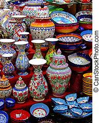 Bunch of colorful pottery in the shop