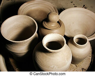 Pottery - some hand made green ware pots drying and wating...