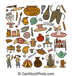 Pottery studio, background for your design. Vector...