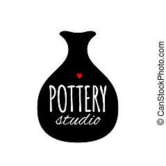 Pottery studio banner, sketch for your design. Vector...