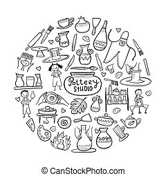 Pottery studio, coloring background for your design. Vector...
