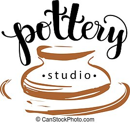 Pottery studio logo, vector illustration used modern...