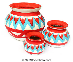 Traditional pottery of South-east Asia over white background