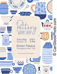 Pottery workshop poster vector template. Hand painted ...