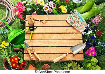 Potting flowers in the garden