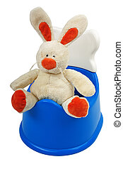 Potty - Little baby child blue urinating toilet potty pan