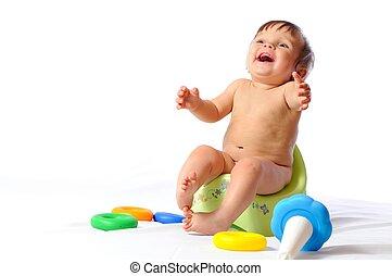 potty, sedere, giocattolo, bambino, giochi