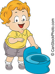 Potty Toddler - Illustration of a Little Boy Standing Beside...