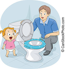 Illustration of a Father Teaching His Young Daughter How to Flush the Toilet