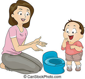 Potty Training - Illustration of a Mother Training Her Son ...