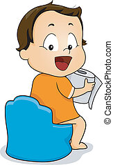 Potty Training - Illustration of a Young Boy Holding a Roll...