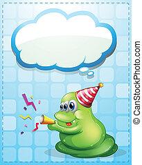 potwór, świętując, zielony, chmura, szablon, opróżniać
