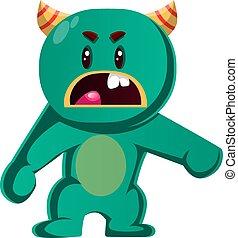 potwór, gniewny, ilustracja, wektor, zielony, ty