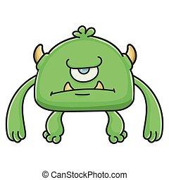 potwór, gniewny, rysunek, chochlik, cyklop, zielony